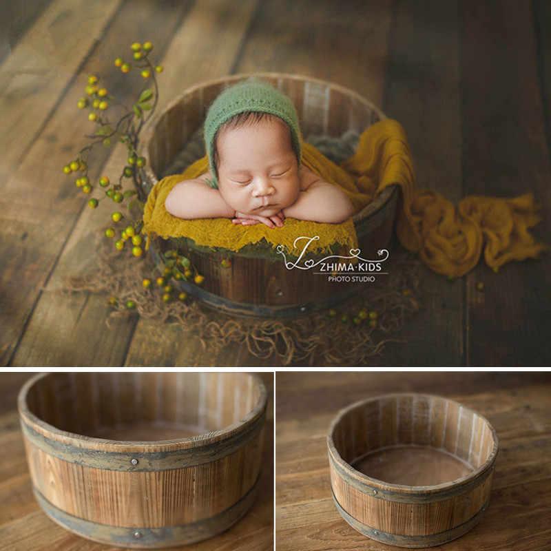 Accesorios de fotografía recién nacido cesta de madera anillo de Metal Retro barril de madera bebé posando el sofá para el estudio del Niño Accesorios de foto Bebe