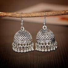 Indian Women's Silver Color Beads Tassel Jhumka Earrings Ethnic Gypsy Gold Alloy Big Bell Drop Earring Fashion Jewelry
