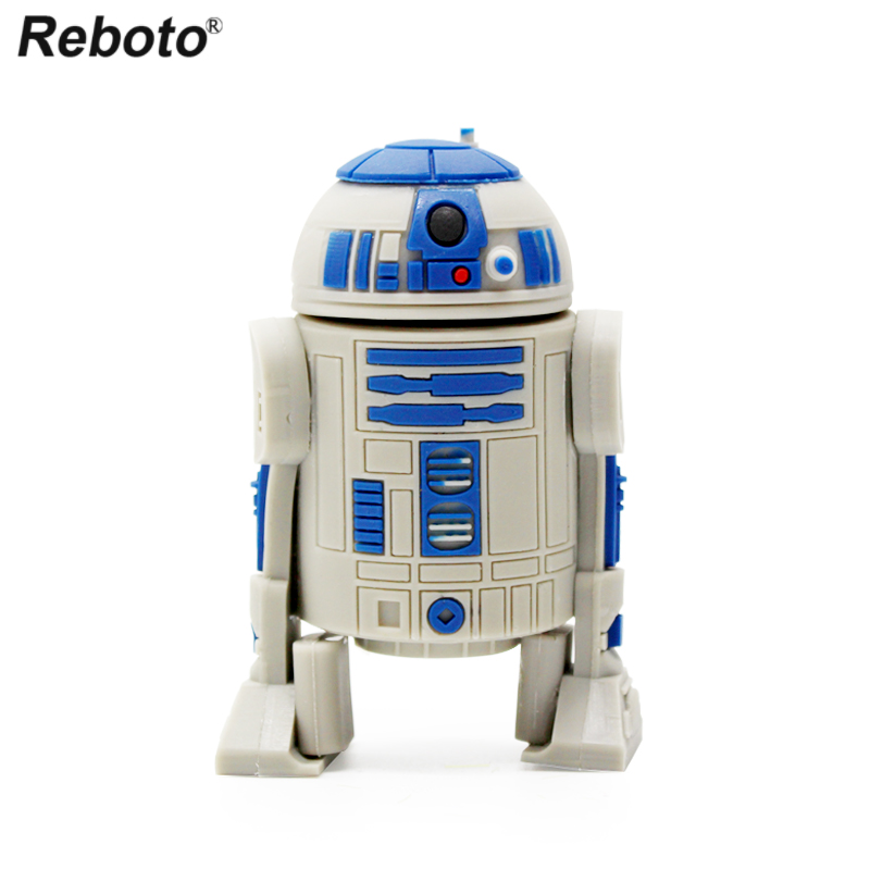 Reboto Cartoon USB Pendrive 64gb 32gb 16gb 8gb 4gb Memory Stick Star Wars R2D2 Robot Flash Drive USB 2.0 Mini Portable U Disk
