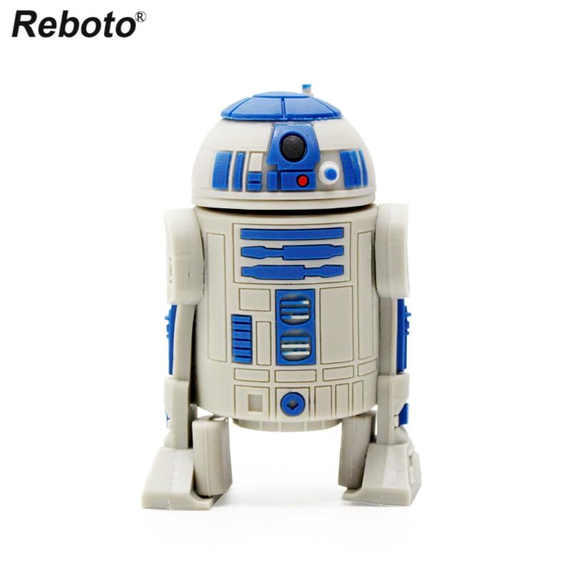 Reboto Cartoon USB Pendrive 64gb 32gb 16gb 8gb 4gb Memory Stick Star Wars R2D2 Robot Flash Drive USB 2.0 Mini Portable U Disk