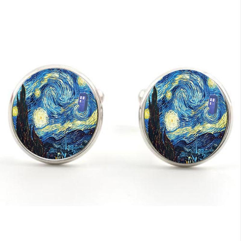 Fashion Van Gogh Art Painting Series Cufflinks Van Gogh Starry Night Crystal Glass Cabochon Cufflinks For Mens Wearable
