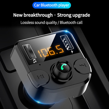 Bluetooth 5.0 Car FM Transmitter Handsfree DC12V -24V MP3 Player TF Card Orange LED Screen USB2.0 Cigarette Lighter Power Supply image