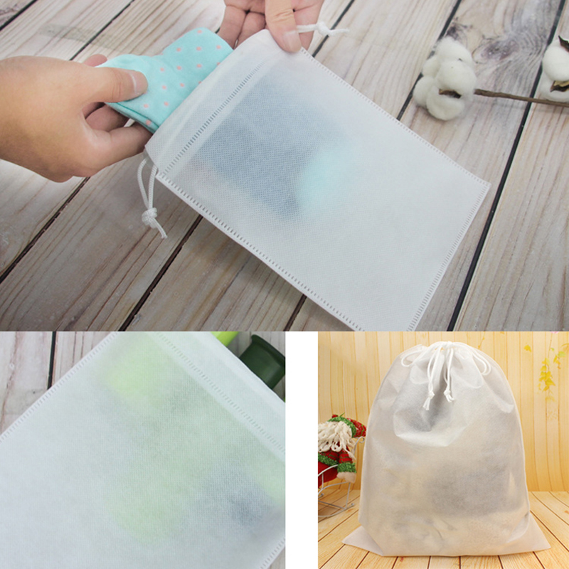 Hot Non-woven Fabrics Drawstring Bag Draw Pocket Shoes Travel Portable Pouch Bag Organizer Portable Black White Draw Pocket NEW