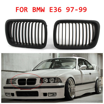 For BMW E36 97-99 3-Series Front Bumper Grille Mesh Grill 2PCS Glossy black image