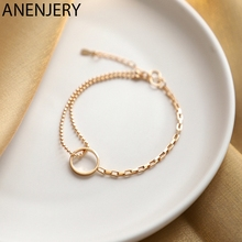 ANENJERY Light Luxury 925 Sterling Silve Circle Bracelet for Women INS Gold Color Hand Jewelry S-B462
