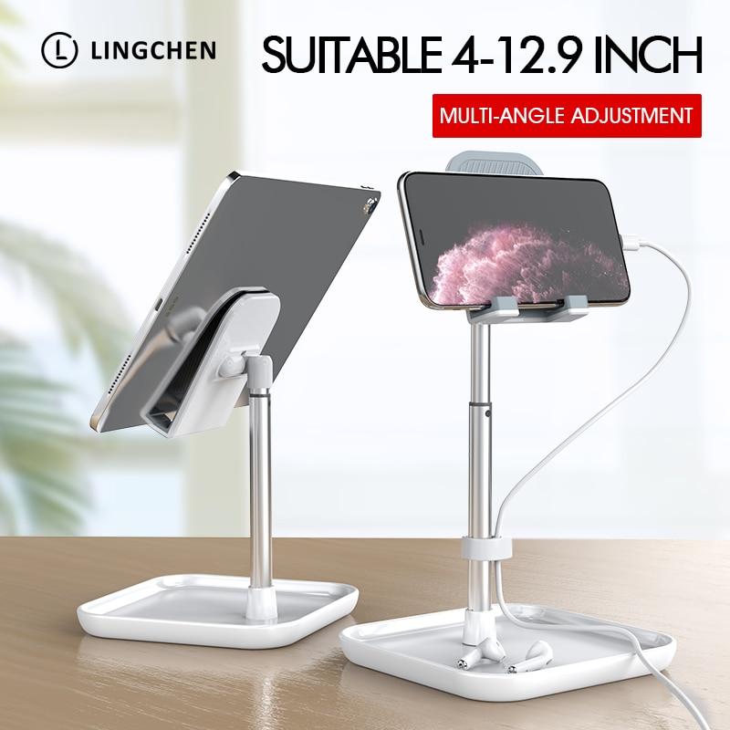 LINGCHEN Phone Holder Magnetic Desk Stand For IPad Universal Mobile Phone Tablet 360 Rotation Magnet Tablet Stand Mount Holder