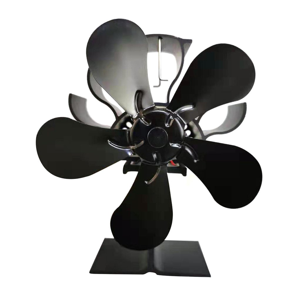 Black Fireplace 5 Blades Heat Powered Stove Fan Home Fireplace Fan Wood Burning Stove Effectively Dispersing Warm Air drop ship