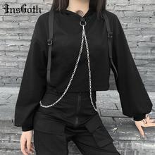 Insgoth панк металлические цепи лоскутные черные толстовки harajuku