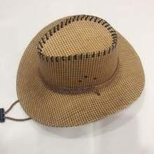 Мужская ковбойская шляпа Плетеная соломенная шляпка с козырьком