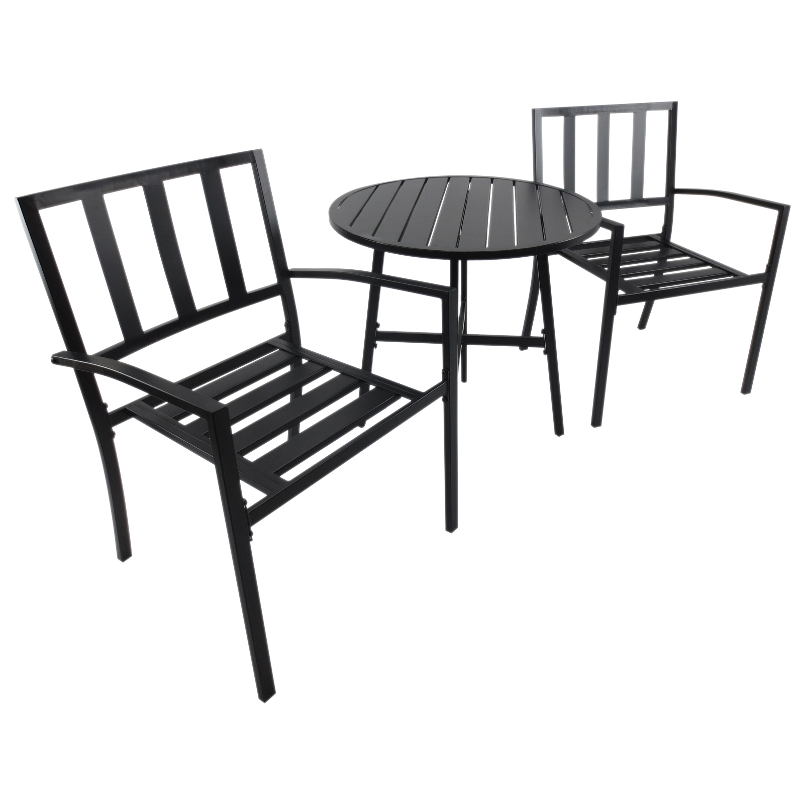 Outsunny Set Coffee Table 2 Chairs Outdoor Comfort Metal Ф70x95 Cm Black