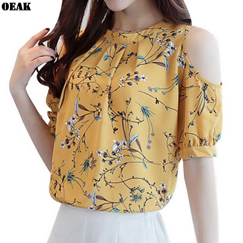 Oeak Women Elegant Chiffon Blouses Summer Casual Short Sleeve Off Shoulder Print Shirt Tops Ladies Work Office Blouse 3XL