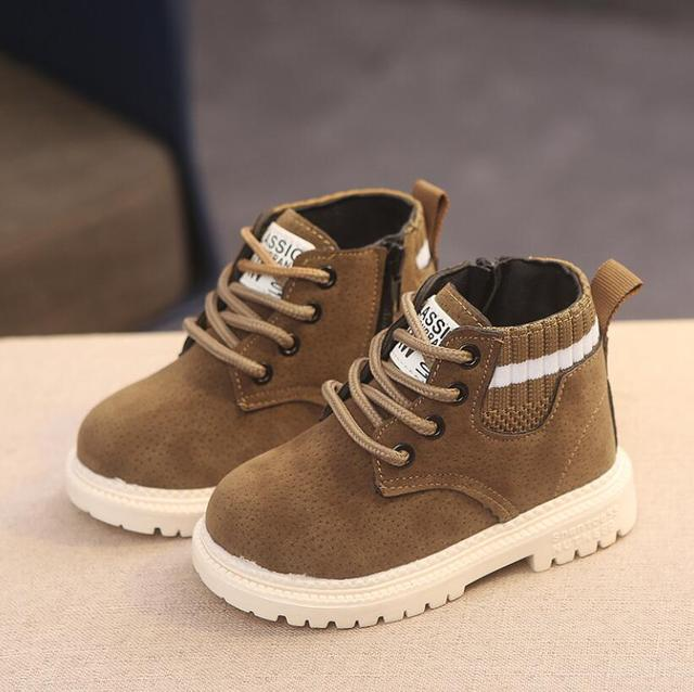 Children Casual Shoes Autumn Winter Martin Boots Boys Shoes Fashion Leather Soft Antislip Girls Boots 21-30 Sport Running Shoes 3