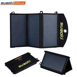 Image 1 - Suaoki 20 w carregador de painel solar de alta eficiência portátil bateria dupla saída usb easycarry dobrável células solares ao ar livre