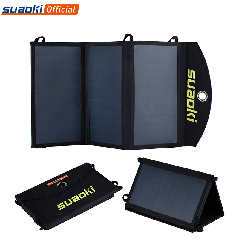Suaoki 20W Solar Panel Charger High efficiency Portable Solar Battery Dual USB Output Easycarry Foldable Solar Cells Outdoors-in Solar Cells from Consumer Electronics