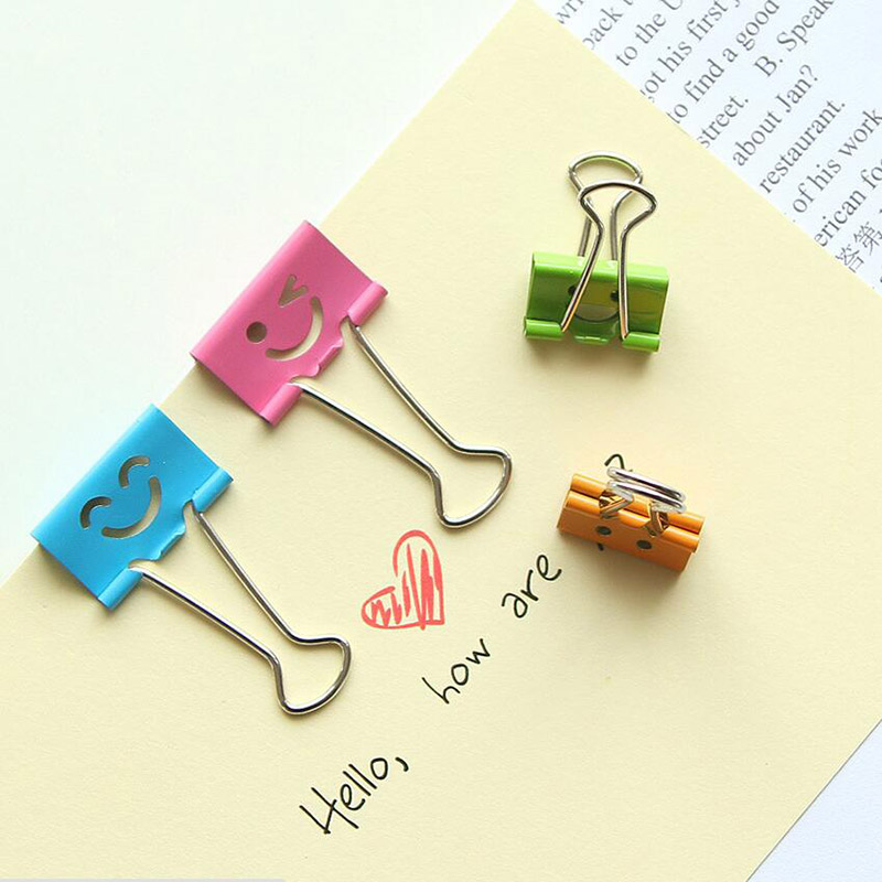 5pcs/lot Cute Smile Face Metal Binder Clip Colored Paper Clips Large Small Decorative Clip File Organizer Office School Supplies