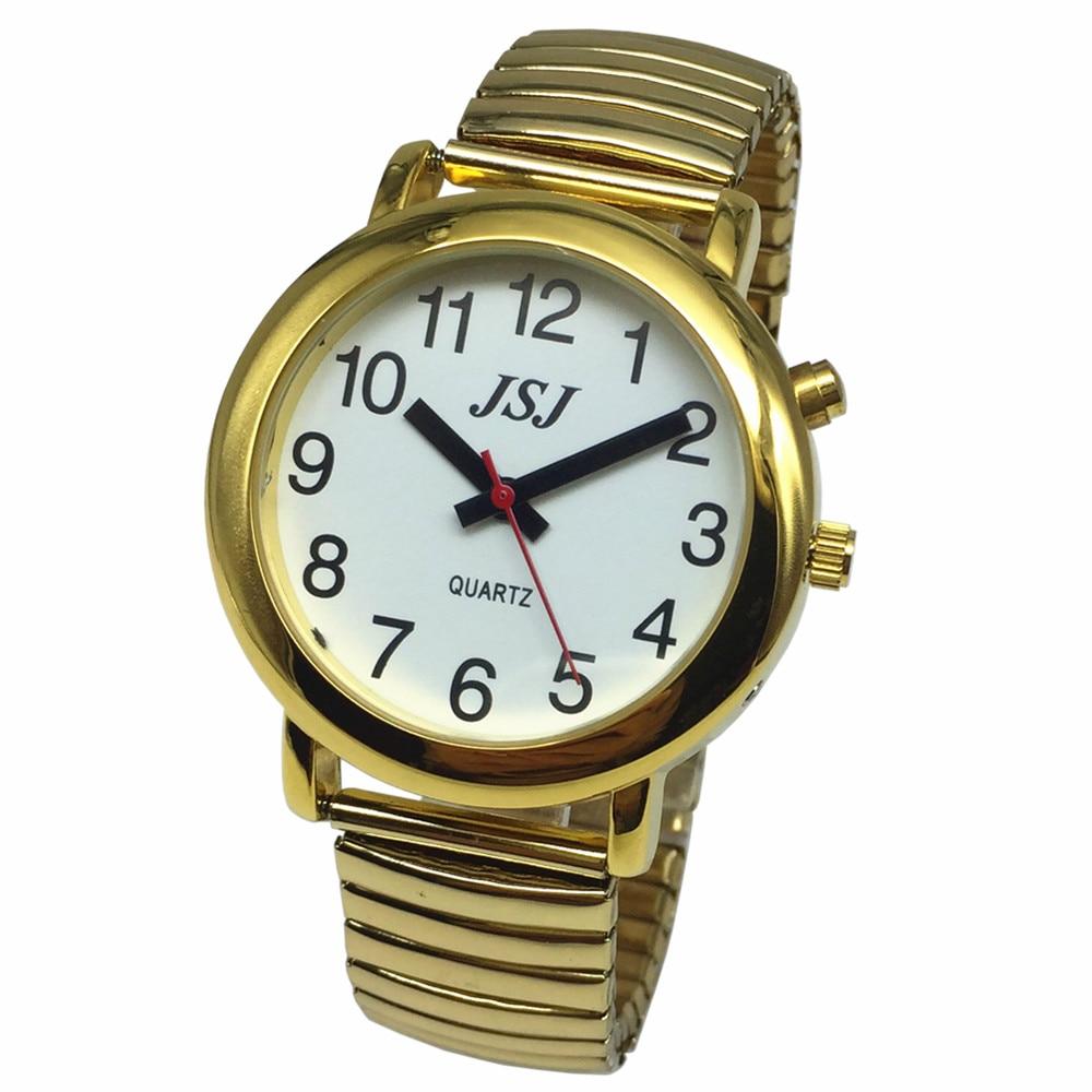 Французские говорящие часы с будильником, говорящая Дата и время, белый циферблат, расширяющийся браслет TAF-502