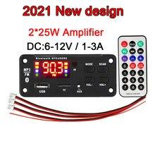 2*25W Amplifier MP3 Player Decoder Board 6V-18V Bluetooth 5.0 Car FM Radio Module Support TF USB AUX 3.5 WMA Player Decoding Kit