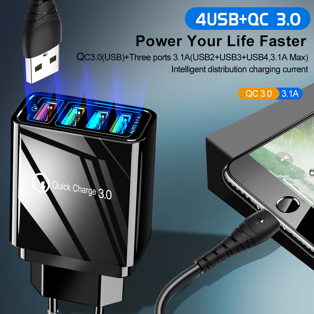 Image 2 - 48W Quick Charger 3.0 USB Charger for Samsung A50 A30 iPhone 7 8 Huawei P20 Tablet QC 3.0 Fast Wall Charger US EU UK Plug Adapte-in Mobile Phone Chargers from Cellphones & Telecommunications