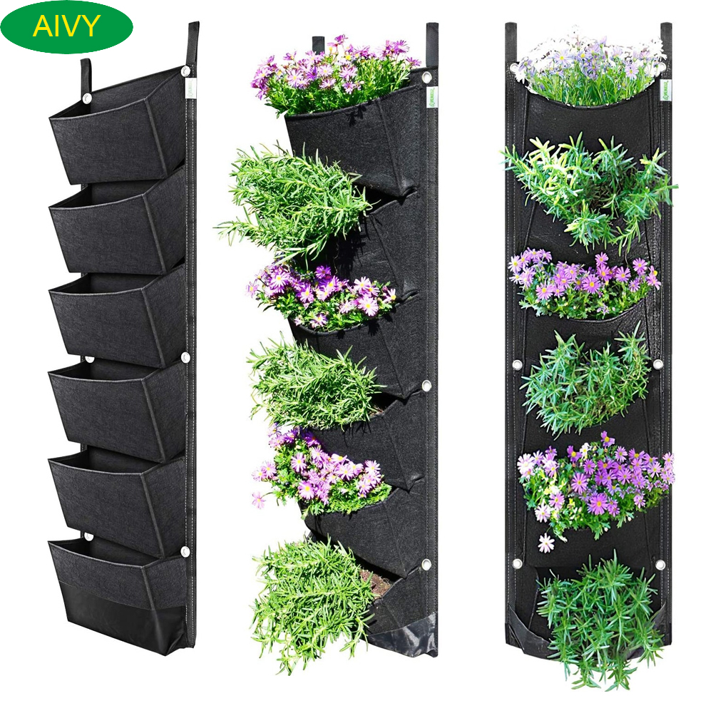 1 Pcs 6 Pockets Best Plant Grow Bag Large Space Waterproof Breathable Flower Pot Use For Garden Courtyard Office Home Decoration