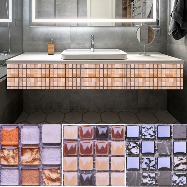 10pcs 10*10CM Mosaic Waterproof Wall Stickers Simulation Tiles Self Adhesive Wall Stickers DIY Home Bathroom Kitchen Decorations 6