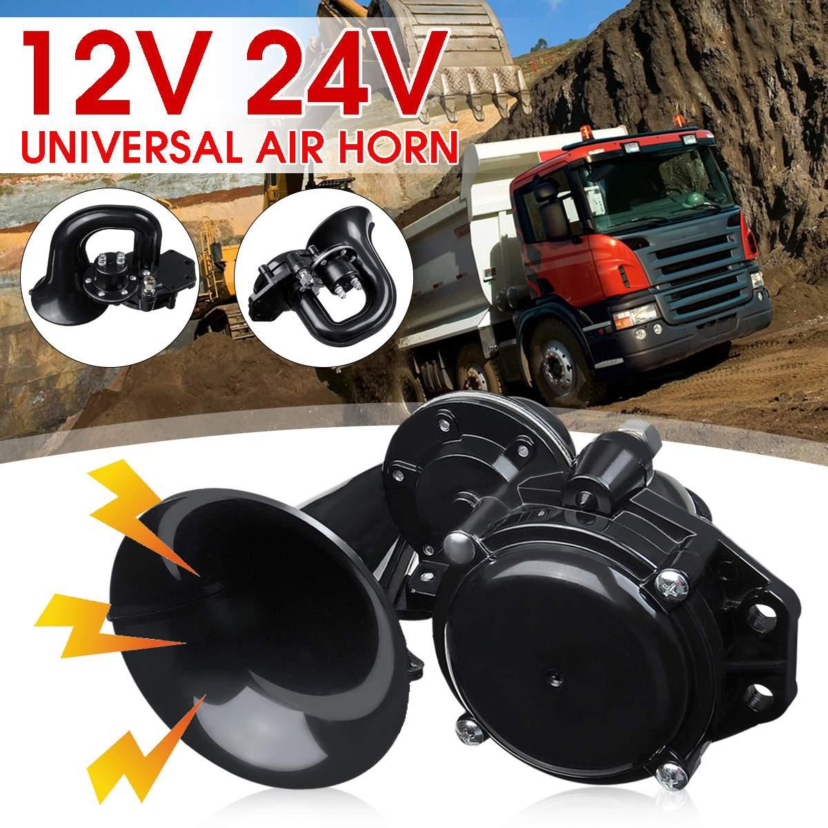 Универсальный звуковой воздушный рожковый сигнал 120db 12/24 в, громкий воздушный рожковый сигнал с электрическим клапаном, плоский для автомобиля, автомобиля, грузовика Многотональн. и сигнальные рожки      АлиЭкспресс