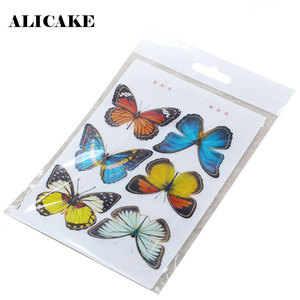 6 Butterflies Wafer Sheets Paper Edible Width 45mm For Cake Topper Cake Decorating Tools Rice Paper Baking Accessories
