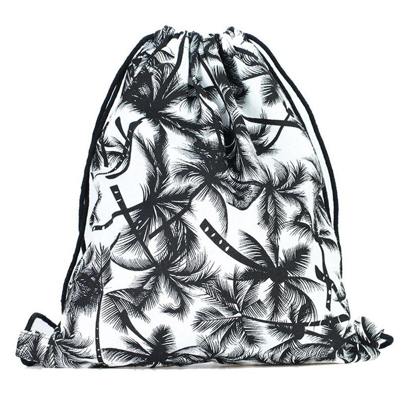 Print Drawstring Backpack Rucksack Shoulder Bags Gym Bag