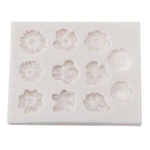 Image 5 - Molde de silicona para Fondant de 11 agujeros, molde para pastel de flores DIY, molde para pastel de azúcar de Chocolate, herramienta de decoración reutilizable para hornear en la cocina