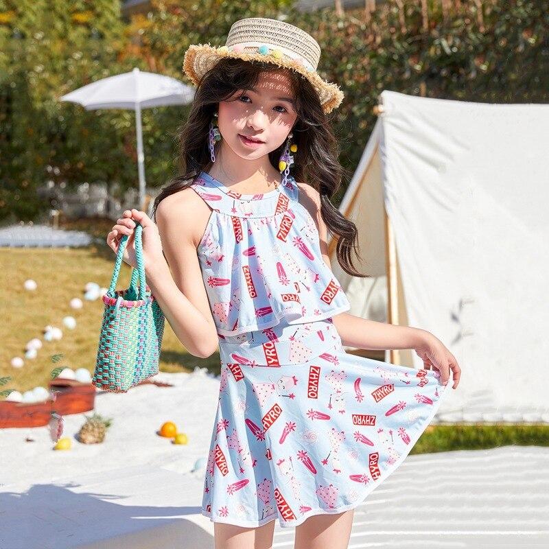New Style Girls Swimwear Dress-Conservative Hipster Cartoon Princess Fan Children Beach Hot Springs Bathing Suit