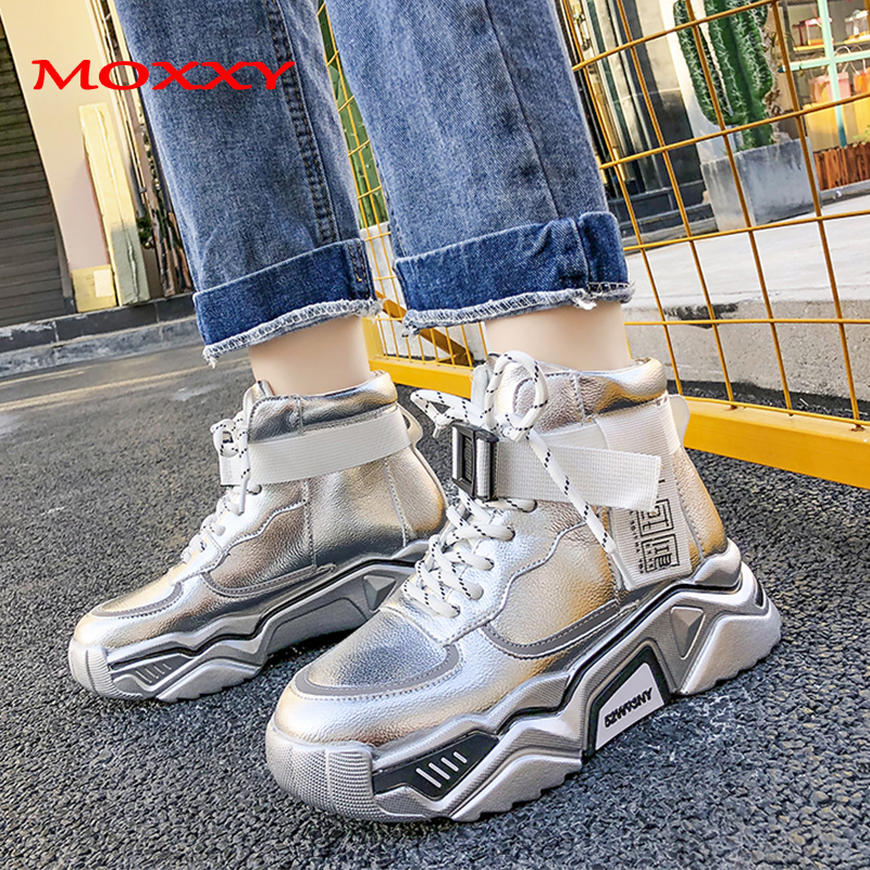 2019 New Designer High Top Sneakers Women Shoes Silver Black Leather Buckle Chunky Sneakers Comfort Fashion Sneaker Basket Femme