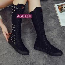New Large Size 34-43 Single Shoes Hollow Super High-top Long-tube Canvas Boots Female Ins Tide 2021 Summer Breathable Flat Shoes