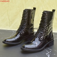 Fashion Ankle Boots Patent Leather Women Boots Chain Shoes Punk Style Lace Up Female Motorcycle Shoes Black White
