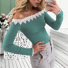 Women Autumn Solid Color Long Sleeve Off Shoulder T-shirt Lady