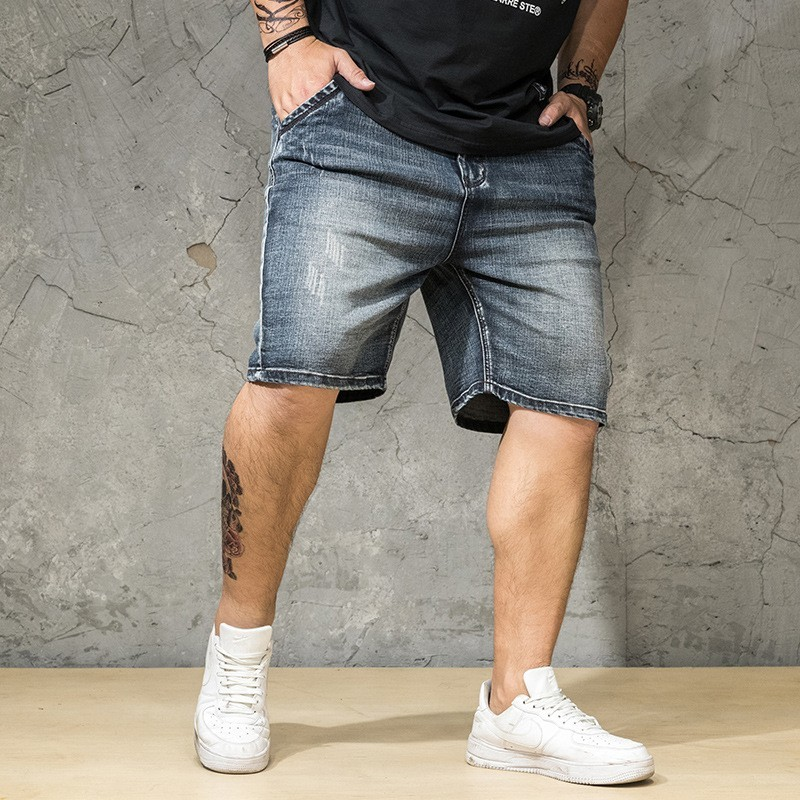 Summer Mens Hole Ripped Denim Shorts Plus Size 46 Casual Cowboy Jeans Hip Hop Loose Thin Cargo Shorts Streetwear Knee Length