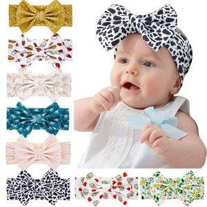 Цветная Детская повязка на голову, хлопковая детская лента для волос с бантом, тюрбан для мальчиков и девочек, детские аксессуары для волос ...