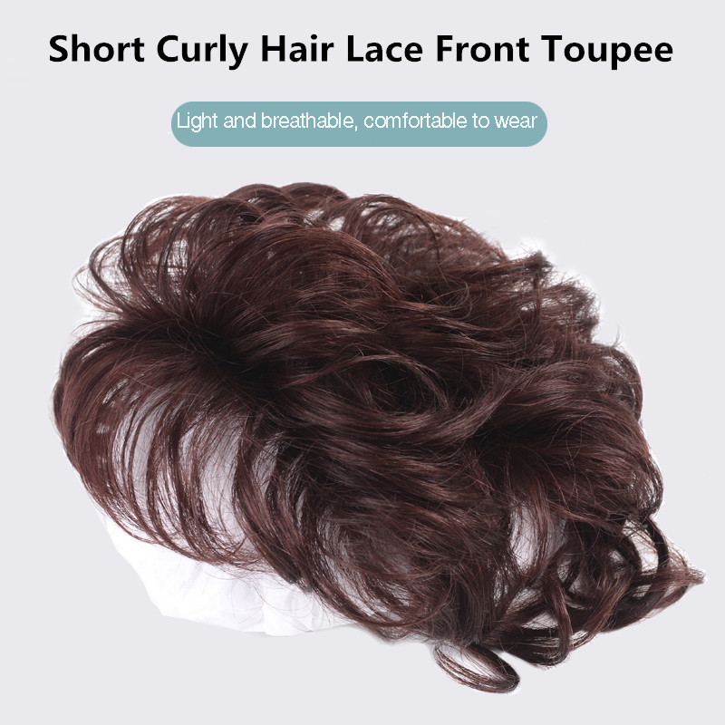 Salonchat Human Hair Toupee Thin Skin Natural Hair Topper Hairpiece Remy Hair Piece Women Curly Hair Replacement Clip Closure