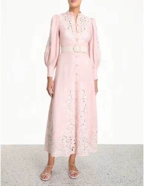 Fashion White Pink Dress Elegant Long SLeeve Night CLub Vintage Evening Party Dress