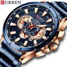 CURREN New Mens Watches Fashion Stainless Steel Sport Quartz Watch Men Luxury Brand Chronograph Military Waterproof Wristwatch