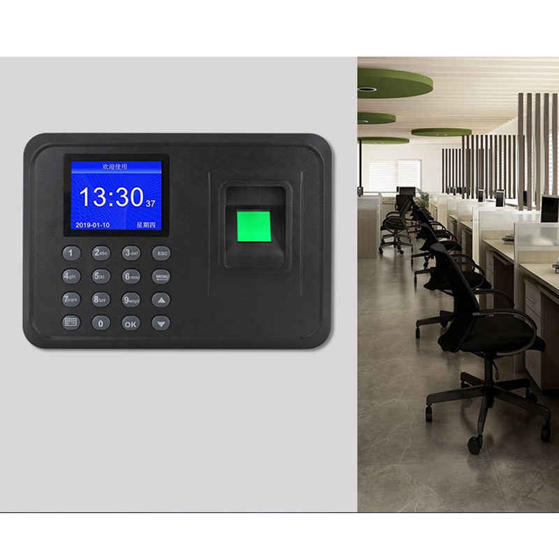 Fingerprint Attendance Machine LCD Display USB Fingerprint Attendance System Time Clock Employee Checking-In Recorder(US Plug)