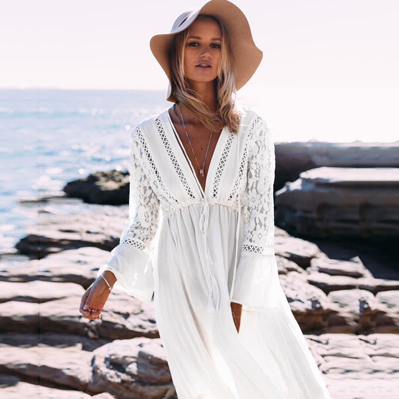 2017 New Style Western Style Cotton Lace Beach Cover-up Bikini Coat Seaside Style Long Skirts