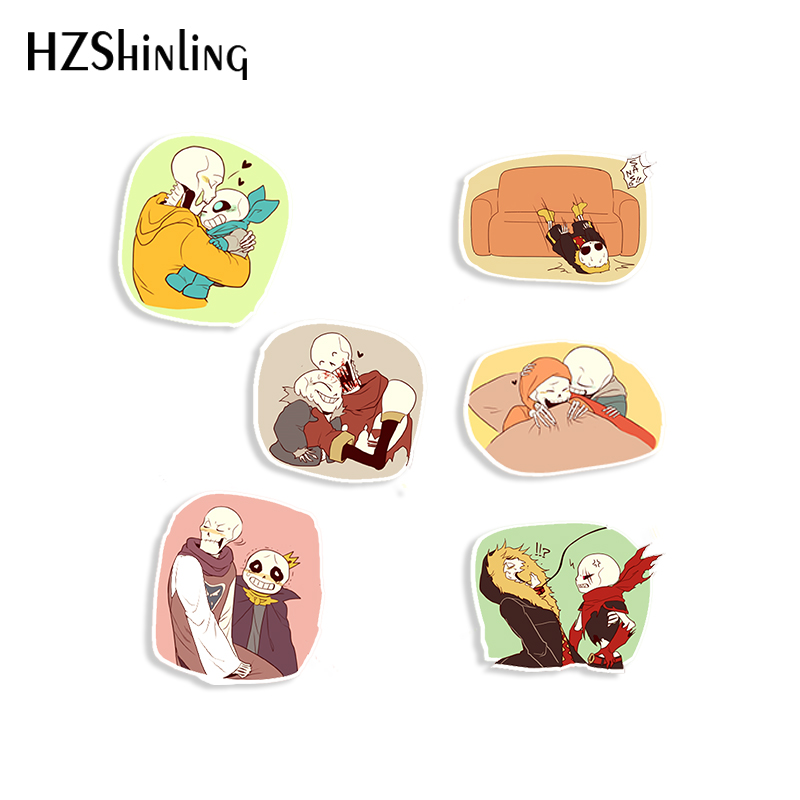 2020 New Cartoon Shrinky Dinks Acrylic Brooches Sans Papyrus Friends Love Shrinks Dinks Crafts Pins Resin Epoxy image