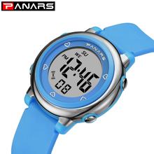 2020 nowych dzieci zegarki niebieskie zegarki dla dzieci cyfrowy zegarek sportowy dla dziewcząt chłopców gumowe cyfrowe zegarki LED dla dzieci tanie tanio PANARS 5Bar Moda casual Akrylowe Sprzączka CN (pochodzenie) 21cm bez opakowania 39 3mm RUBBER 8211 ROUND 20 22mm 13 1mm