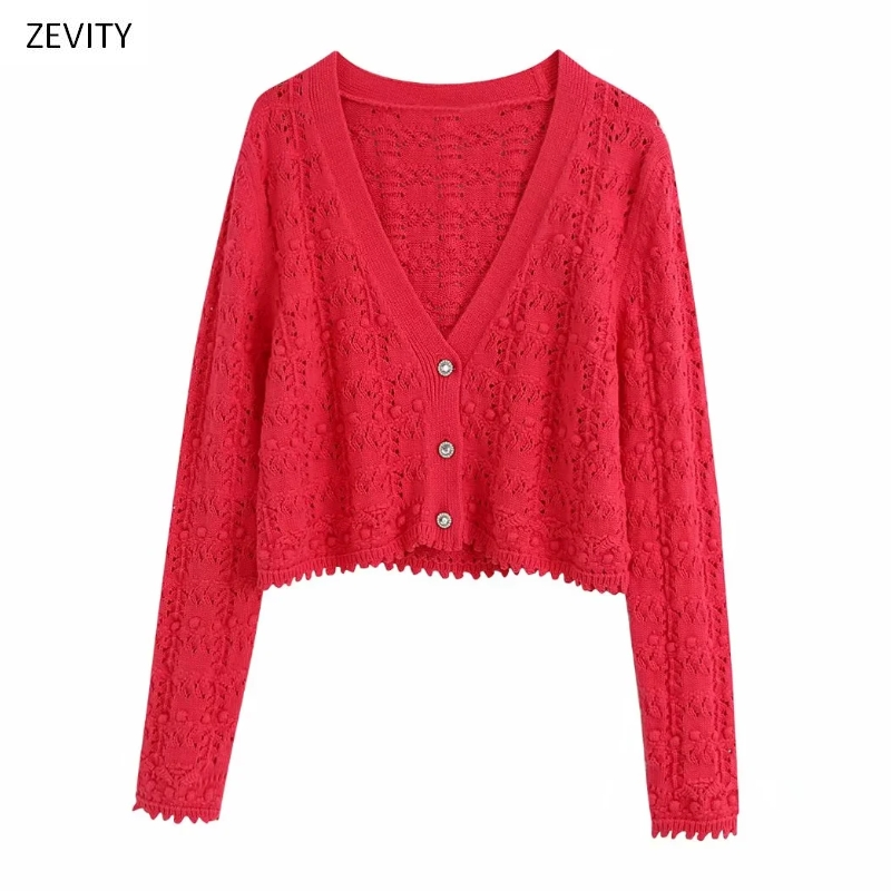 Zevity New Women Fashion V Neck Hollow Out Knitting Casual Loose Sweater Female Ball Decoration Buttons Sweaters Chic Tops S265