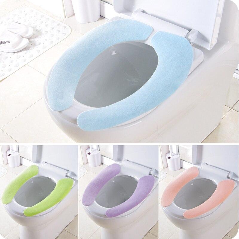 2019 ใหม่ Washroom WARM Washable สุขภาพ Sticky เสื่อห้องน้ำฝาครอบที่นั่ง Pad ครัวเรือน Reuseable Soft Toilet ฝาครอบที่นั่ง 4 สี