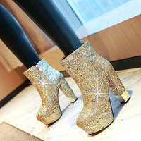 34 43 women boots high heels shoes Winter Night party Women's Boots Sequined platform Super High Heel Wedding Boots size 12