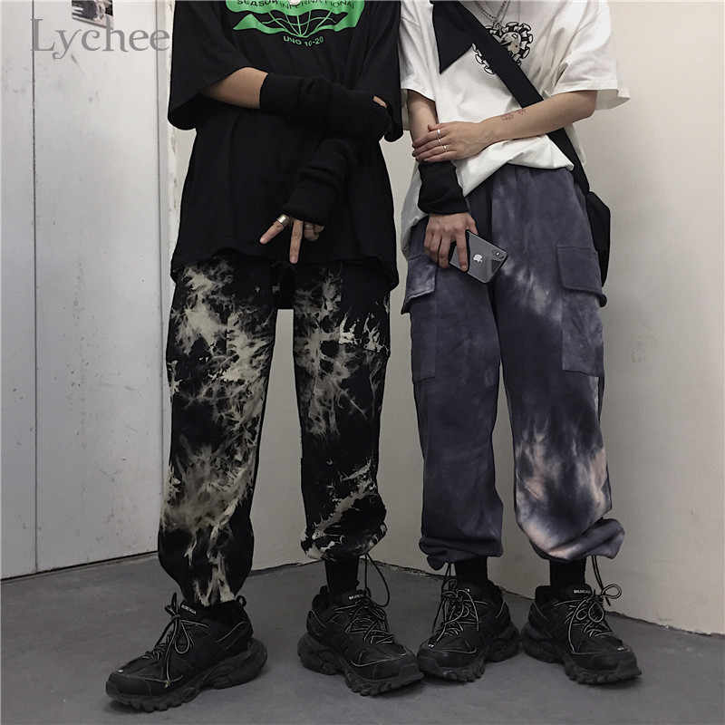ליצ 'י Harajuku לקשור צביעת נשים Bottoms מכנסיים אלסטיים מותן Loose נקבה Jogger מכנסיים מכנסיים מזדמנים סתיו ליידי מכנסיים מטען