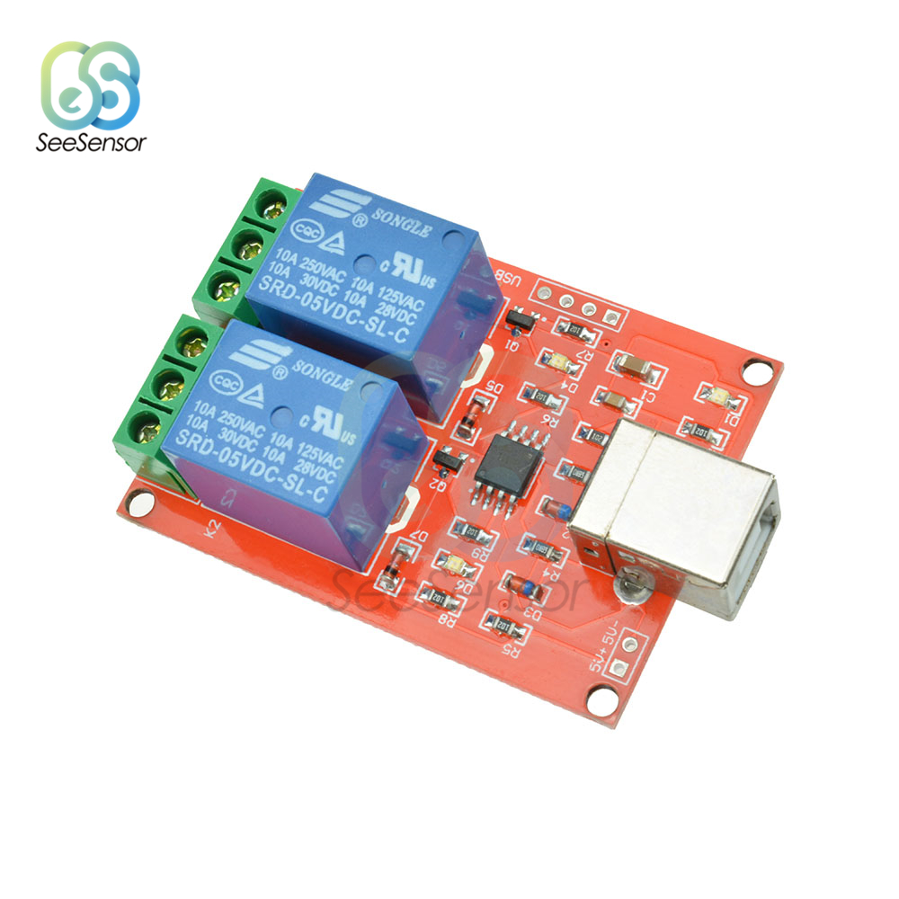 5V 2 Channel USB Relay Module Programmable Computer Control Switch For Smart Home PC Intelligent Control