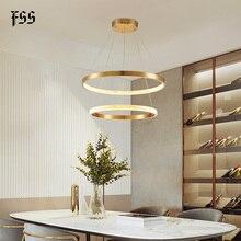 FSS nowoczesne okrągłe koło żyrandol złote żyrandole okrągła geometria kreatywna lampa Led oświetlenie wewnętrzne