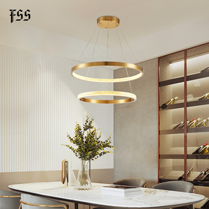 Image 1 - FSS الحديثة دائرة مستديرة أضواء الثريا الثريات الذهب دائري الهندسة الإبداعية مصباح Led أضواء تركيبات إضاءة داخلية