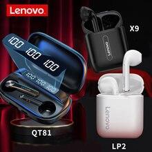 Lenovo qt81 x9 lp2 tws verdadeiro sem fio bluetooth 5.0 fone de ouvido controle toque fones estéreo hd falando 300mah bateria he05